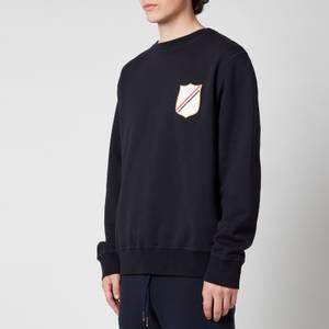 Thom Browne Men's Embroidered Crest Patch Boat Neck Sweatshirt - Navy