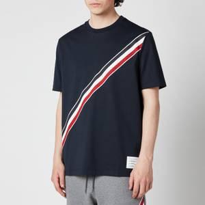 Thom Browne Men's Printed Diagonal Stripe Jersey T-Shirt - Navy