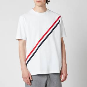 Thom Browne Men's Printed Diagonal Stripe Jersey T-Shirt - White