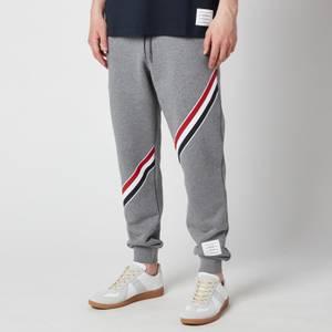 Thom Browne Men's Printed Diagonal Stripe Classic Loopback Sweatpants - Medium Grey