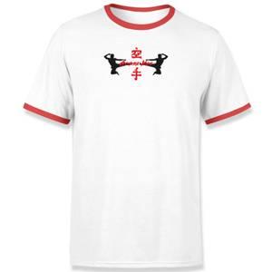 Cobra Kai Kick Icon Unisex Ringer T-Shirt - Wit/Rood