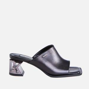 Karl Lagerfeld Women's K-Blok Leather Square Toe Heeled Mules - Black