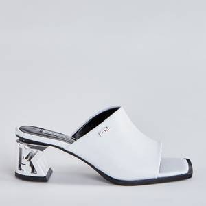 Karl Lagerfeld Women's K-Blok Leather Square Toe Heeled Mules - White