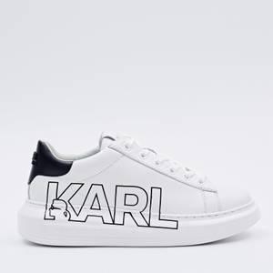 Karl Lagerfeld Women's Kapri Outline Logo Lelather Chunky Trainers - White