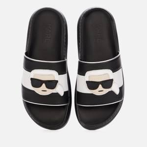 KARL LAGERFELD Women's Kapri Ikonic Leather Flatform Slide Sandals - Black
