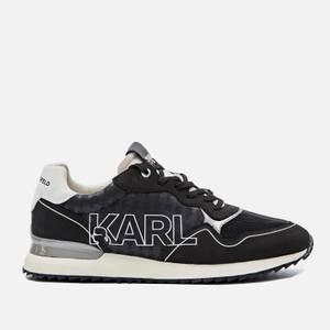 KARL LAGERFELD Men's Velocitor Ii Outline Logo Running Style Trainers - Black