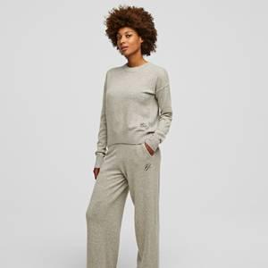 KARL LAGERFELD Women's Wool Cashmere Wide Legged Pants - Light Grey