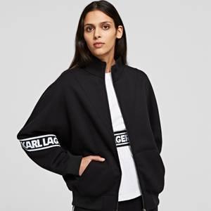 KARL LAGERFELD Women's Logo Tape Zip-Up Sweatshirt - Black