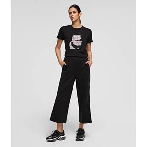 KARL LAGERFELD Women's Logo Tape Jersey Pants - Black