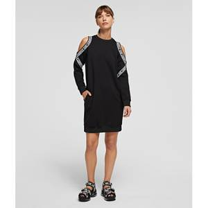 KARL LAGERFELD Women's Cold Shoulder Sweat Dress - Black