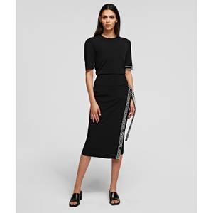 KARL LAGERFELD Women's Short Sleeve Puff Sweater with Logo - Black