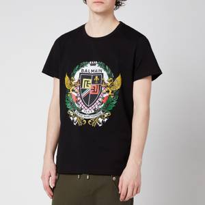 Balmain Men's Printed Crest T-Shirt - Black