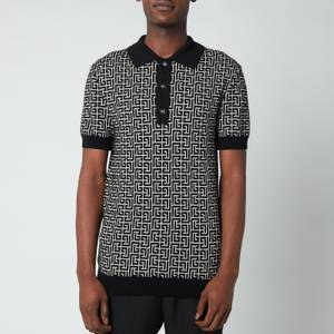 Balmain Men's Knitted Monogram Polo Shirt - Ivory/Black