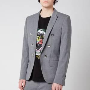 Balmain Men's Stretch Wool 6 Button Jacket - Grey