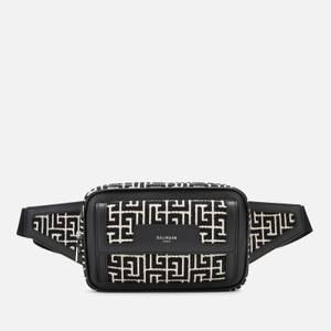 Balmain Men's Monogram Bum Bag - Ivory/Black