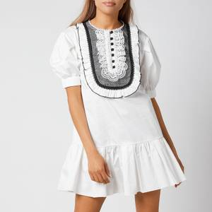 Self-Portrait Women's Lace-Bib Cotton Mini Dress - White