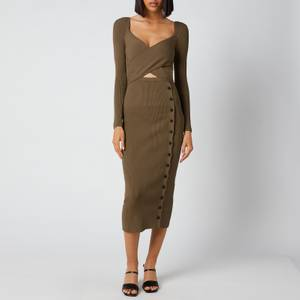 Self-Portrait Women's Cut Out Knit Midi Dress - Olive