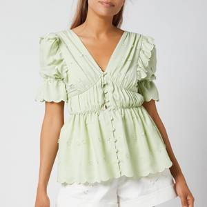 Self-Portrait Women's 3D Flower Peplem Top - Pistachio