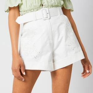Self-Portrait Women's Cotton Canvas Embroidered Shorts - White