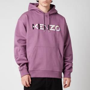 KENZO Men's Multicolour Logo Oversize Hoodie - Blackcurrant