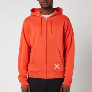 KENZO Men's Sport Full Zip Hoodie - Deep Orange