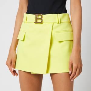 Balmain Women's Short Belted Grain De Poudre Skirt - Anis