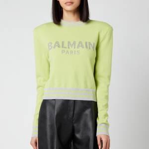 Balmain Women's Cropped Mesh Logo Sweatshirt - Anis/Gris