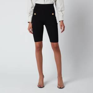 Balmain Women's High Waisted Knitted Cycling Shorts - Noir