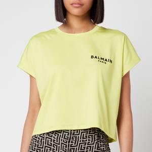 Balmain Women's Cropped Flocked Logo T-Shirt - Anis