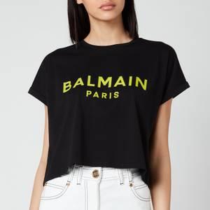 Balmain Women's Cropped Printed Logo T-Shirt - Noir/Anis