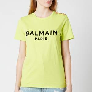 Balmain Women's Flocked Logo L T-Shirt - Anis/Noir