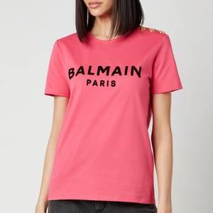 Balmain Women's Flocked Logo L T-Shirt - Fuchcia/Noir
