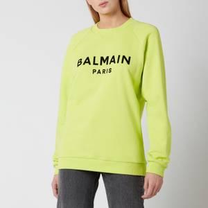 Balmain Women's Flocked Logo Sweatshirt - Anis/Noir