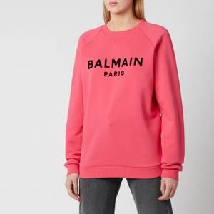 Balmain Women's Flocked Logo Sweatshirt - Fuchcia/Noir