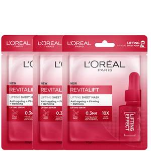 L'Oréal Paris Revitalift Lifting Sheet Masks (Pack of 3)