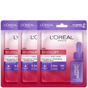 L'Oréal Paris Revitalift Plumping Sheet Masks (Pack of 3)