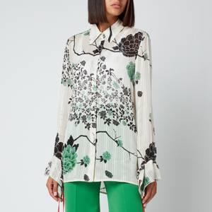 Victoria, Victoria Beckham Women's Flounce Cuff Printed Crepon Shirt - Jumbo Floral Cream