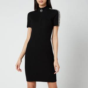 MICHAEL Michael Kors Women's Half Zip Logo Tape Dress - Black