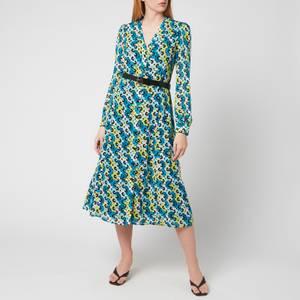 MICHAEL Michael Kors Women's Multi 60S Floral Kate Dress - Bright Limeade