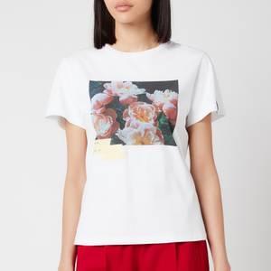 Golden Goose Women's Ania Regular S/S Flowers Postcard/Digital/Tape/D.I.Y. T-Shirt - White/Multicolour