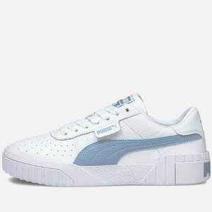 Puma Women's Cali Perforated Leather Trainers - Puma White/Forever Blue
