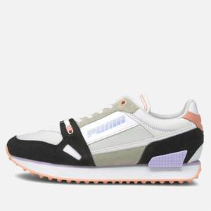 Puma Women's Mile Rider Power Play Running Style Trainers - Puma White/Puma Black/Apricot Blush