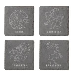 Game Of Thrones Houses Ensemble de sous-verres en ardoise gravés