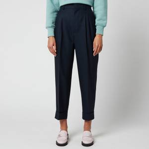 AMI Women's Tapered Fit Trousers - Navy