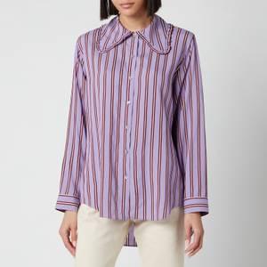 PS Paul Smith Women's Exaggerated Collar Stripe Shirt - Purple