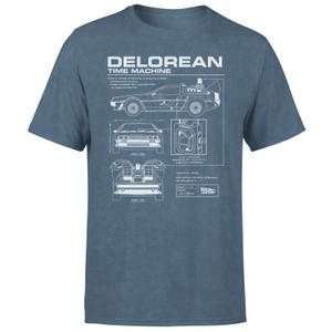 Back To The Future Delorean Men's T-Shirt - Navy Acid Wash