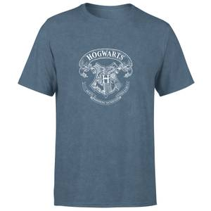 Harry Potter Hogwarts Crest Men's T-Shirt - Navy Acid Wash