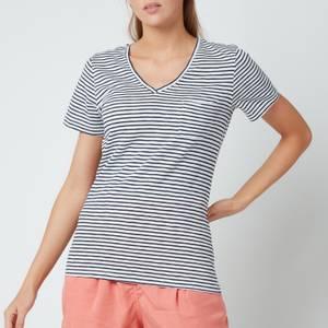 Superdry Women's Pocket V Neck T-Shirt - Navy Breton