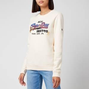 Superdry Women's Vl Itago Crewneck Sweatshirt - Cream Quartz