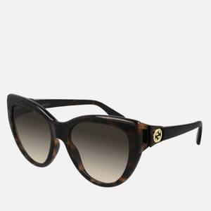 Gucci Women's 70's Fork Acetate Sunglasses - Havana/Havana/Brown